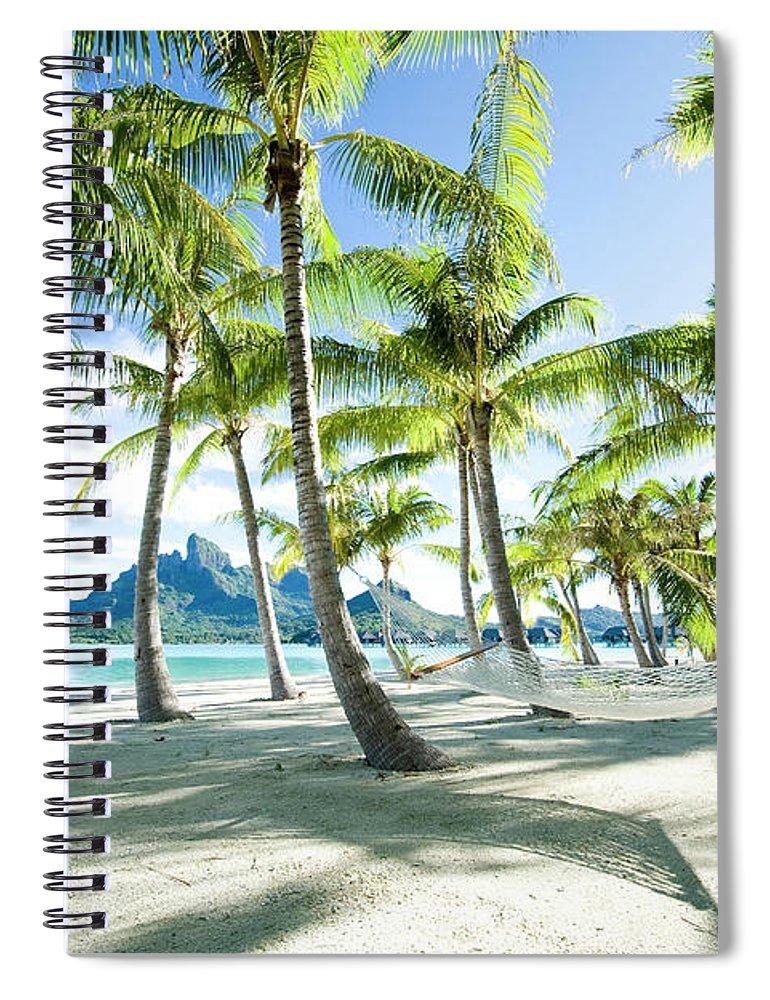 Hanging Spiral Notebook featuring the photograph Hammock At Bora Bora, Tahiti by Yusuke Okada/amanaimagesrf
