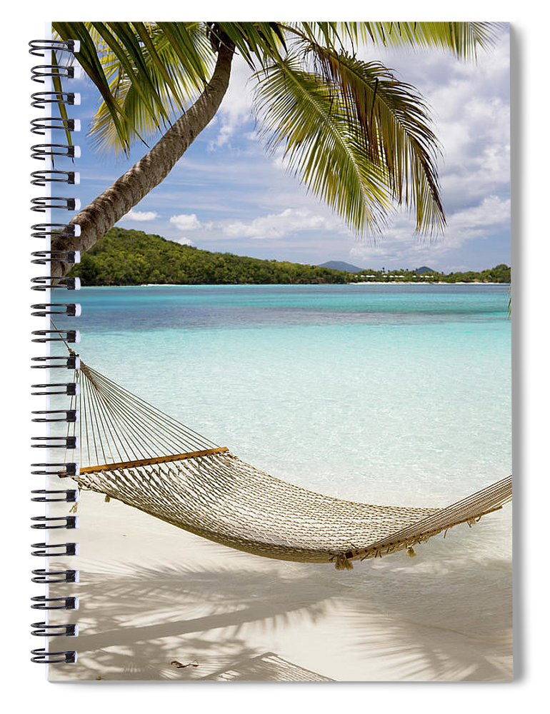 Water's Edge Spiral Notebook featuring the photograph Hammock Hung On Palm Trees On A by Cdwheatley