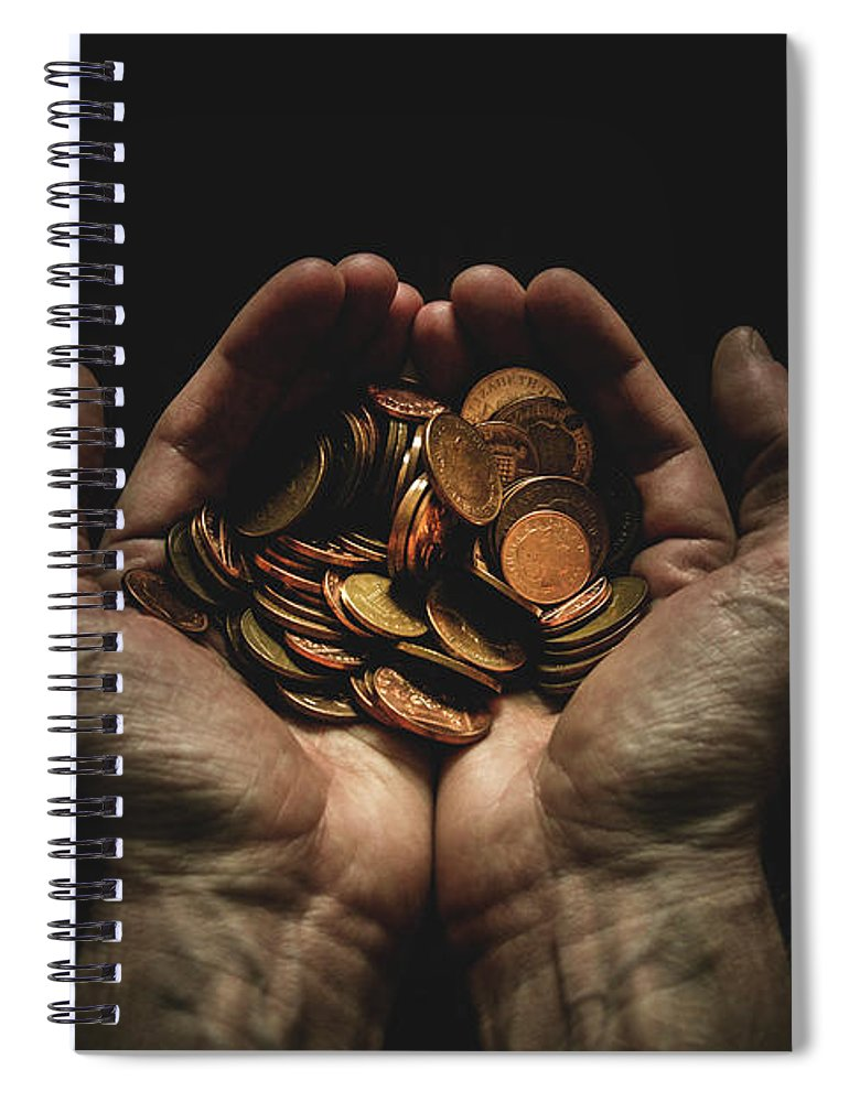 Coin Spiral Notebook featuring the photograph Hands Holding Coins Against Black by Andy Kirby