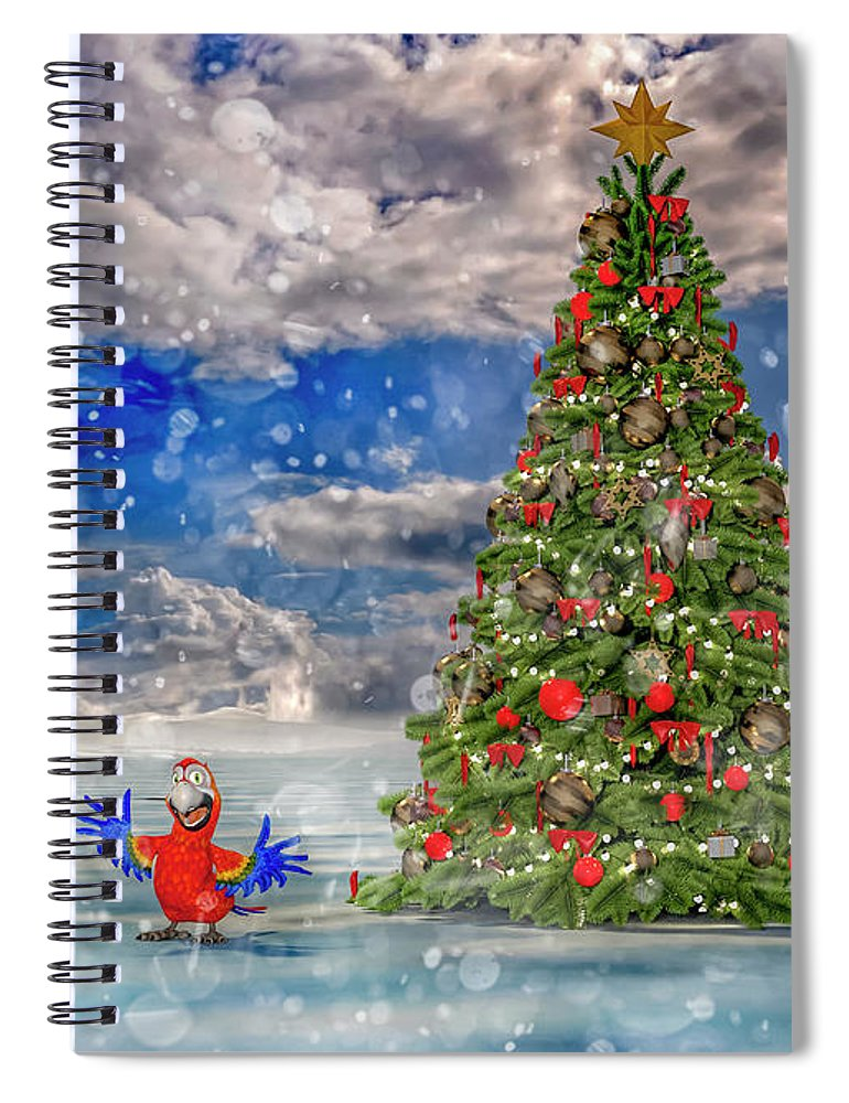 Parrot Spiral Notebook featuring the digital art Happy Christmas Parrot by Betsy Knapp
