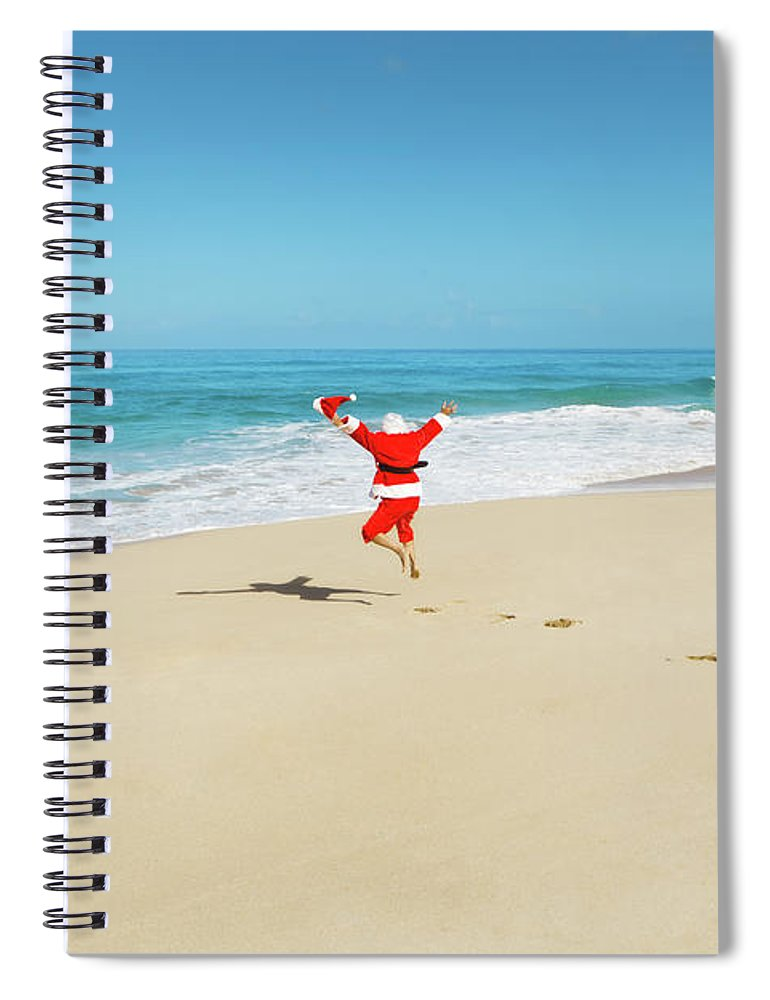 Scenics Spiral Notebook featuring the photograph Happy Excited Jumping Santa Claus On by Yinyang