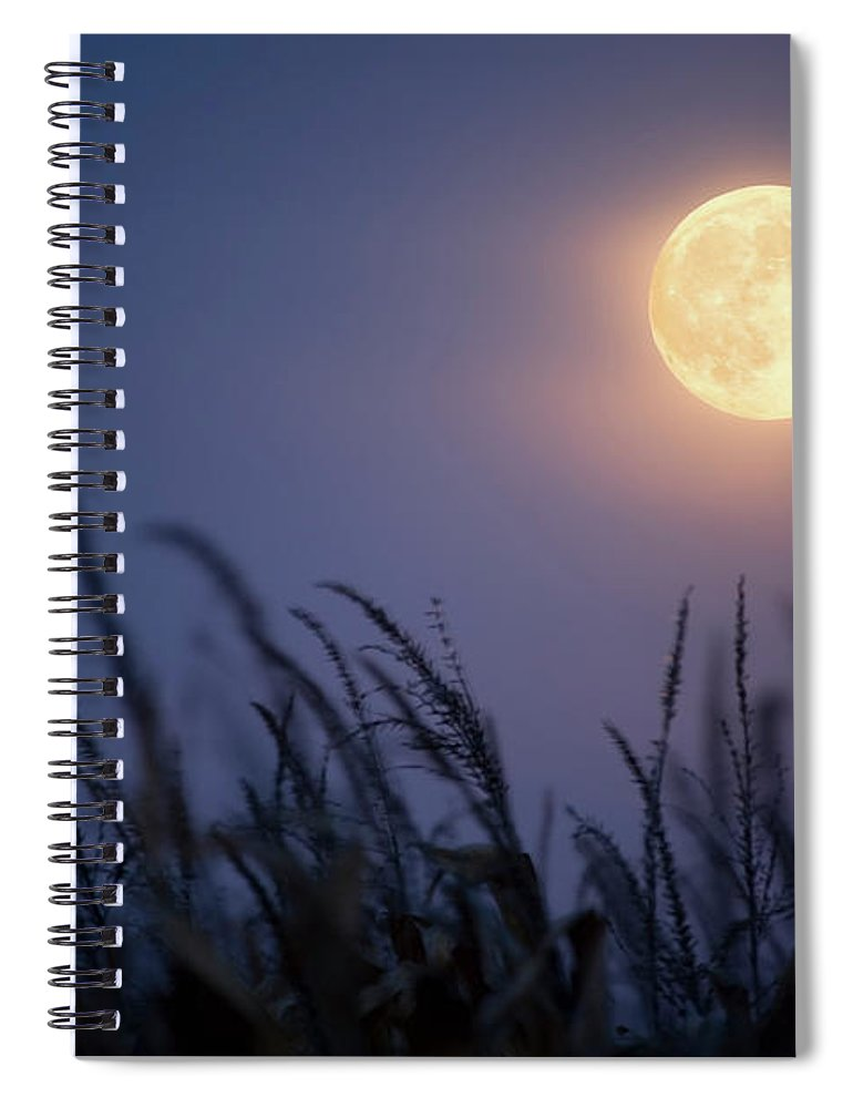 Sky Spiral Notebook featuring the photograph Harvest Moon by Jimkruger