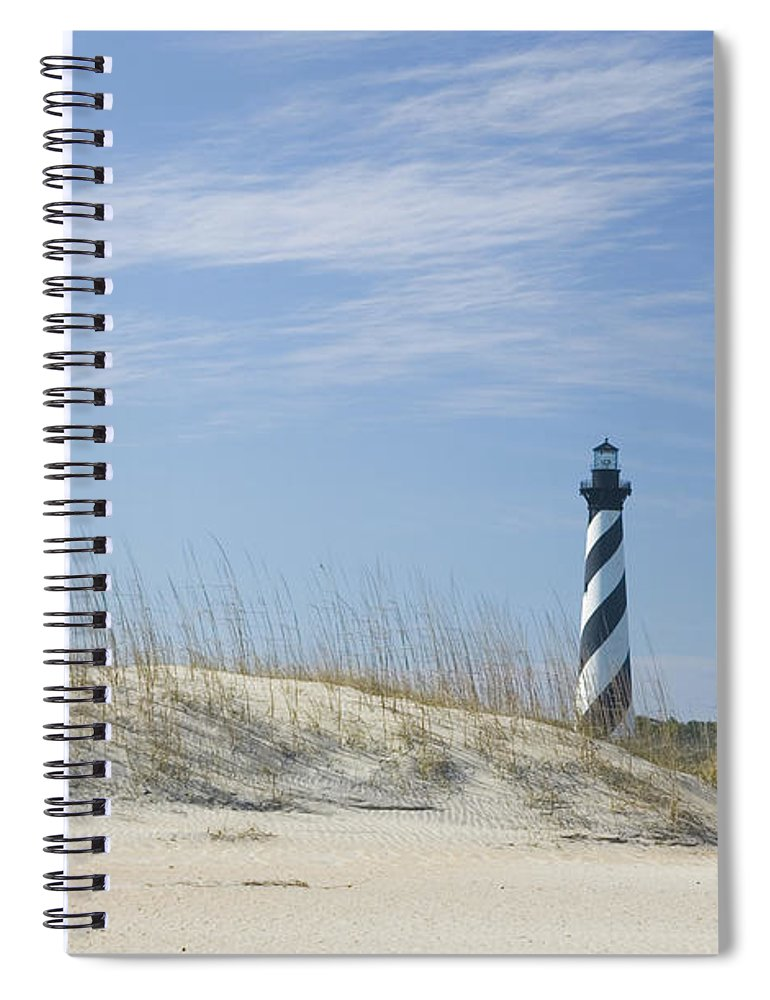 North Carolina Spiral Notebook featuring the photograph Hatteras Lighthouse And The Dunes by Myhrcat
