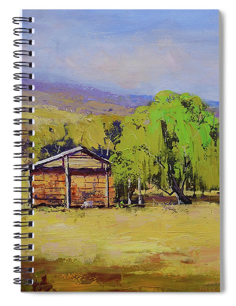 Hay Shed Spiral Notebook featuring the painting Hay Shed Tumut by Graham Gercken