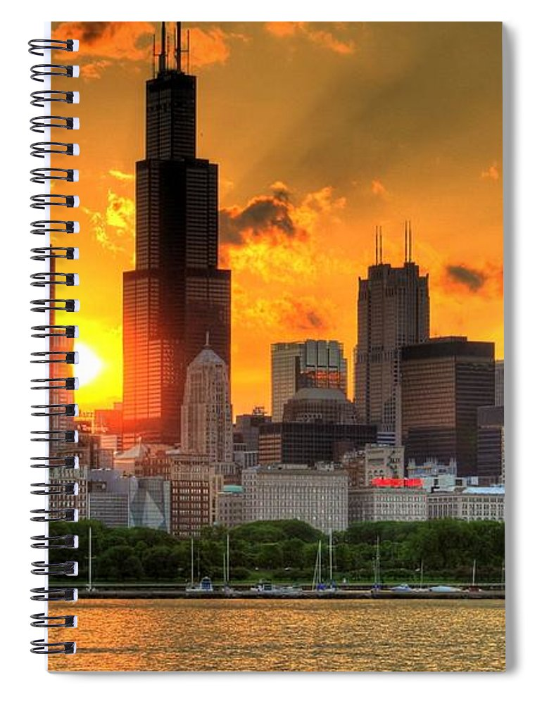 Tranquility Spiral Notebook featuring the photograph Hdr Chicago Skyline Sunset by Jeffrey Barry