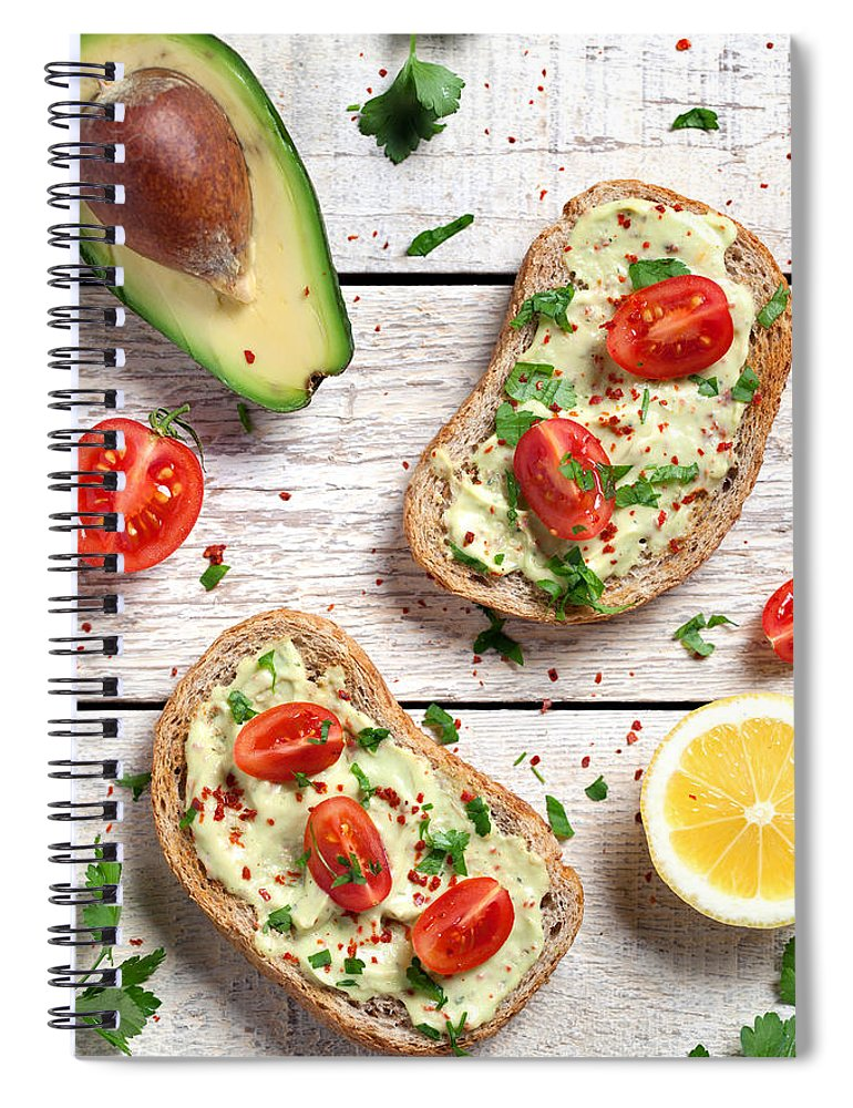 Breakfast Spiral Notebook featuring the photograph Healthy Whole Grain Bread With Avocado by Barcin