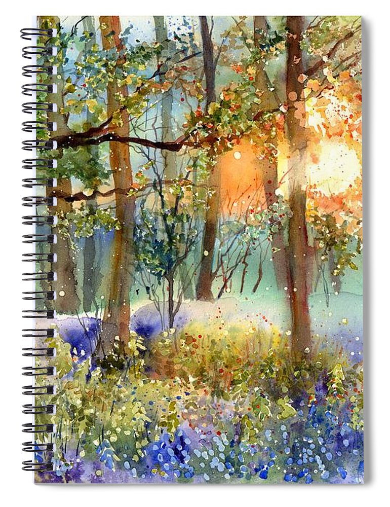 Wild Spiral Notebook featuring the painting Heathers In Gold by Suzann Sines