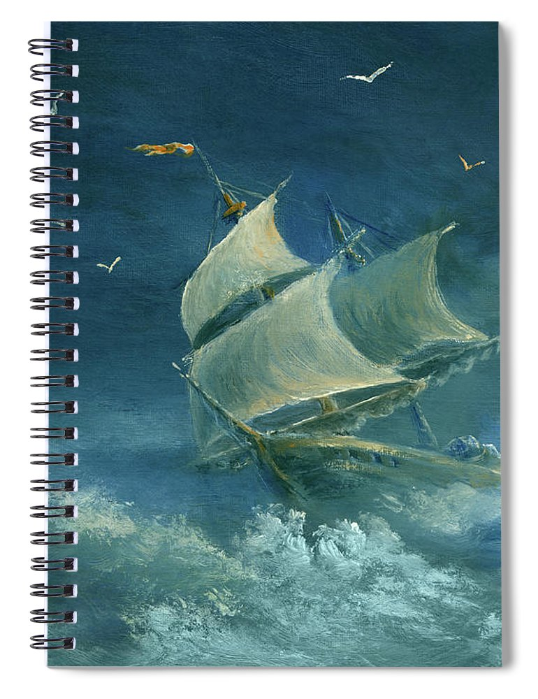 Image Spiral Notebook featuring the digital art Heavy Gale by Pobytov