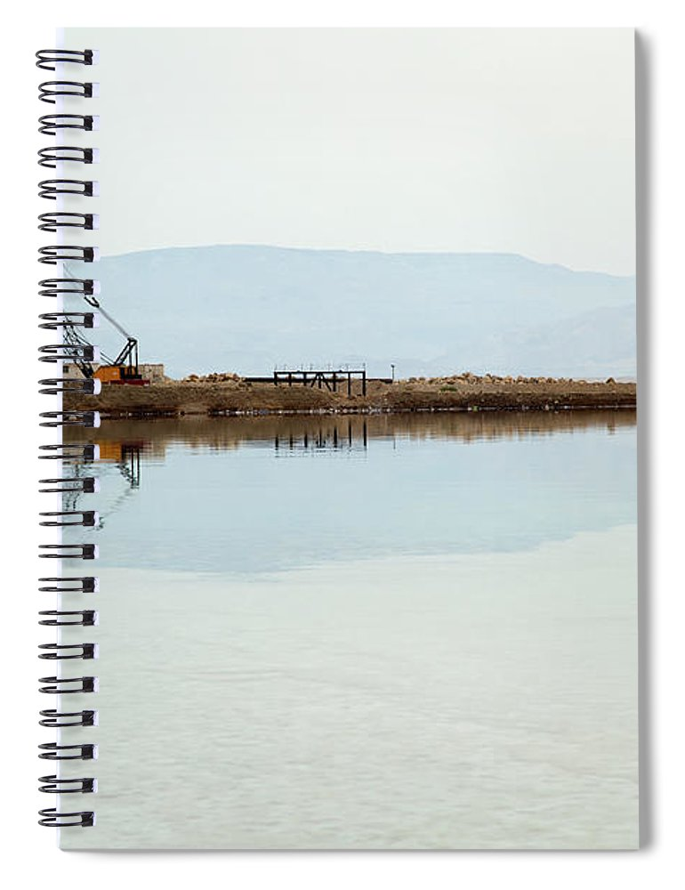 Working Spiral Notebook featuring the photograph Heavy Machinery At The Dead Sea by Eldadcarin