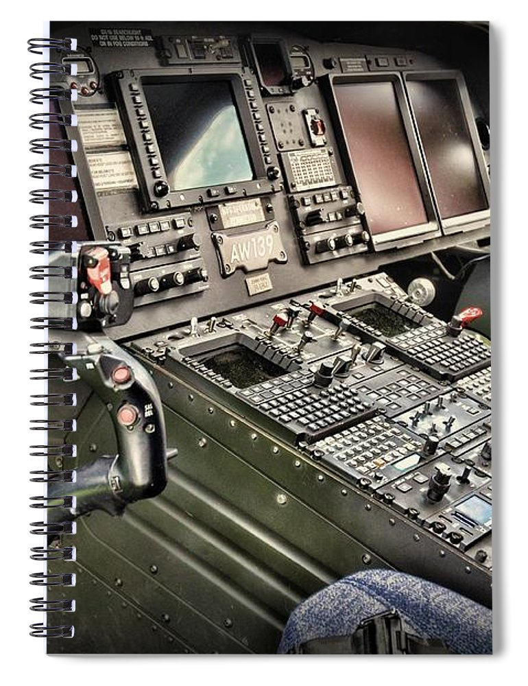 Paul Ward Spiral Notebook featuring the photograph Helicopter Instrument Panel Of The Aw139 by Paul Ward