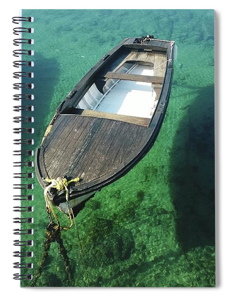 Tranquility Spiral Notebook featuring the photograph High Angle View Of Boat Moored On Sea by Iva Saric / Eyeem