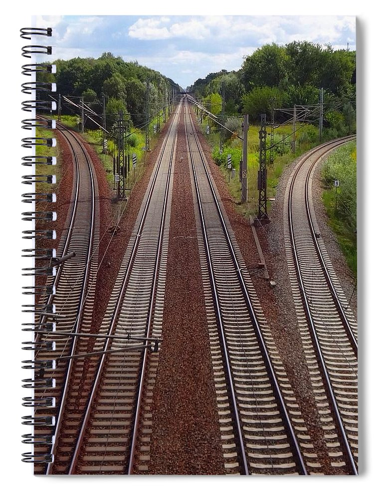 Tranquility Spiral Notebook featuring the photograph High Angle View Of Empty Railroad Tracks by Thomas Albrecht / Eyeem