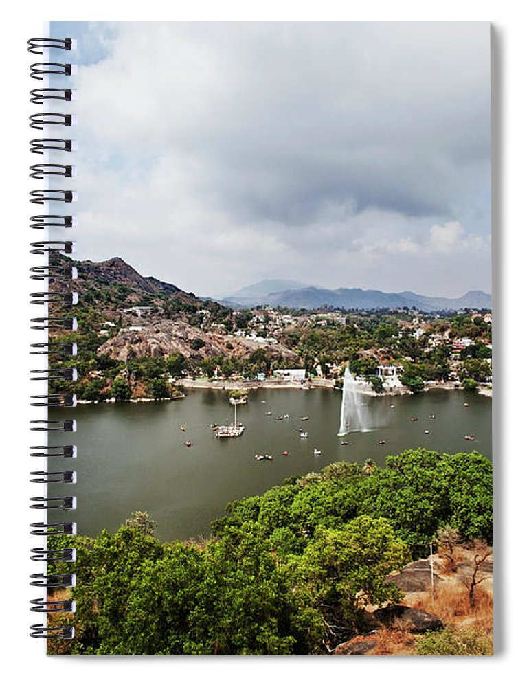 Tranquility Spiral Notebook featuring the photograph High Angle View Of Fountain In Nakki by Uniquely India