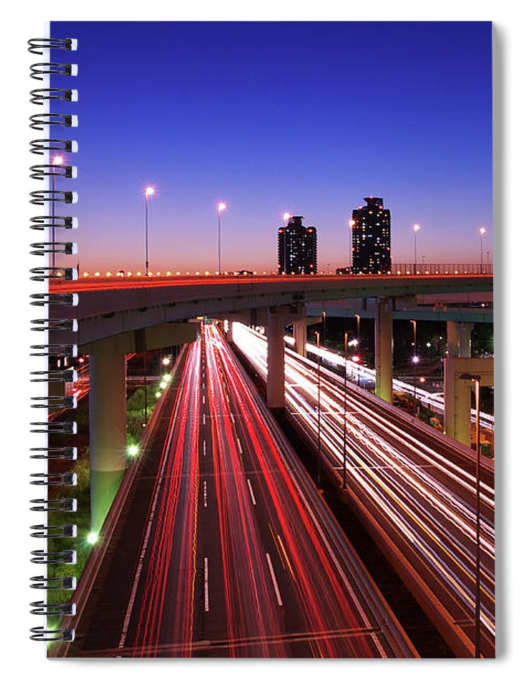 Two Lane Highway Spiral Notebook featuring the photograph Highway At Night by Takuya Igarashi