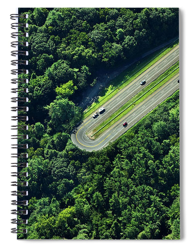 The End Spiral Notebook featuring the photograph Highway U-turn In Forest by Thomas Jackson
