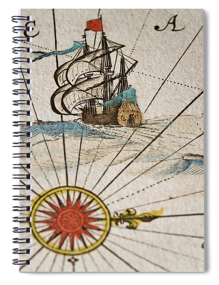 Engraving Spiral Notebook featuring the digital art Historical Ships by Goldhafen