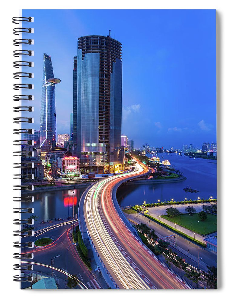 Ho Chi Minh City Spiral Notebook featuring the photograph Ho Chi Minh City At Night by Jethuynh