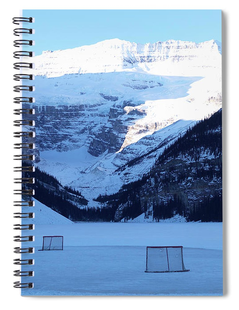 Scenics Spiral Notebook featuring the photograph Hockey Net On Frozen Lake by Ascent/pks Media Inc.
