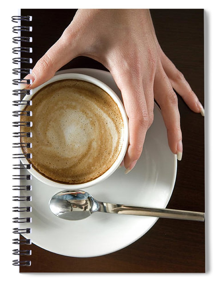 Spoon Spiral Notebook featuring the photograph Holding Cappuccino by 1001nights