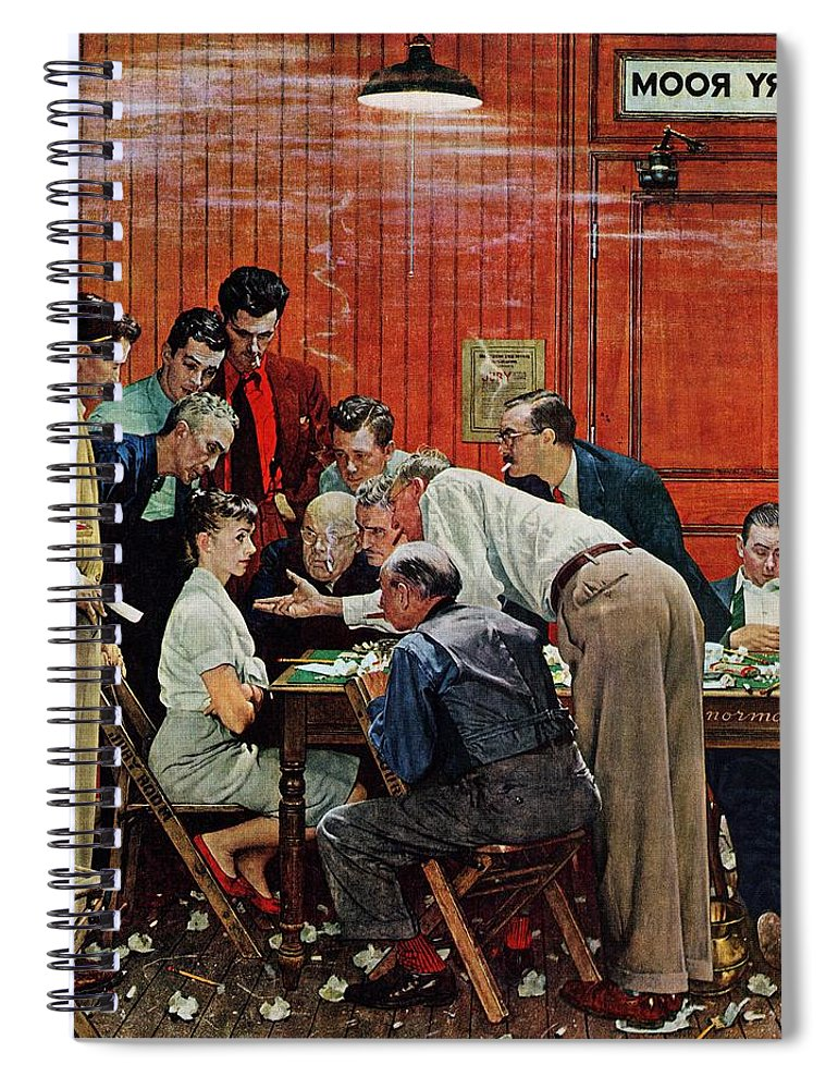 Courtroom Spiral Notebook featuring the drawing Holdout by Norman Rockwell