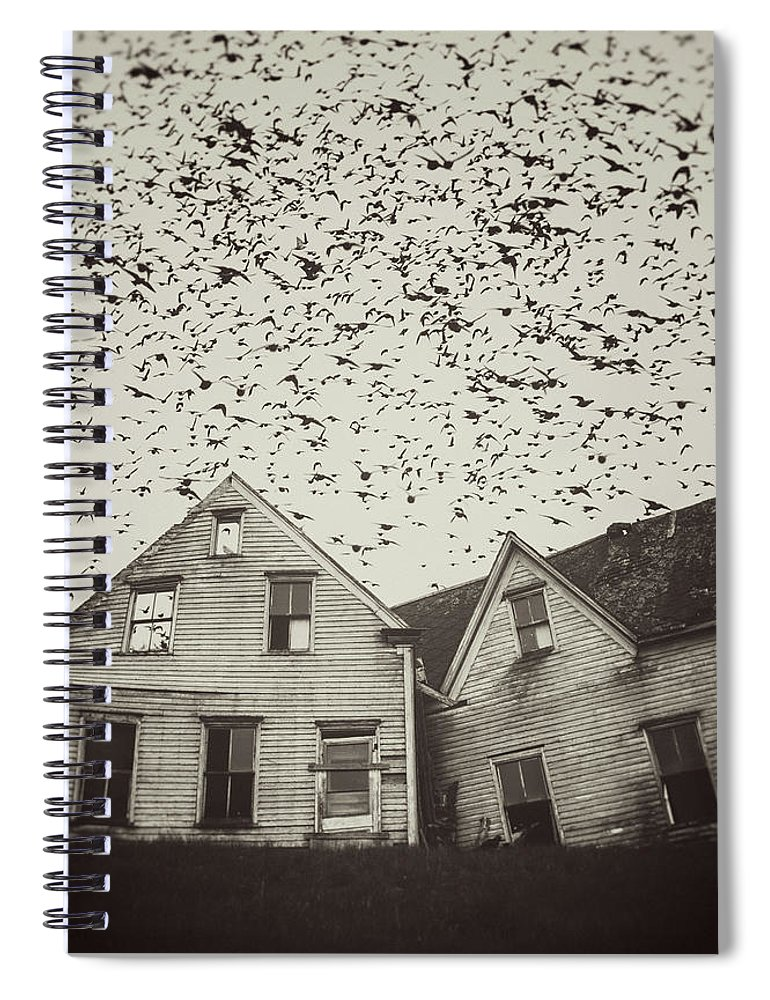 Spooky Spiral Notebook featuring the photograph Home Of Murmuration by Shaunl