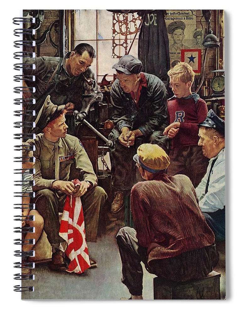 Flags Spiral Notebook featuring the drawing Homecoming Marine by Norman Rockwell
