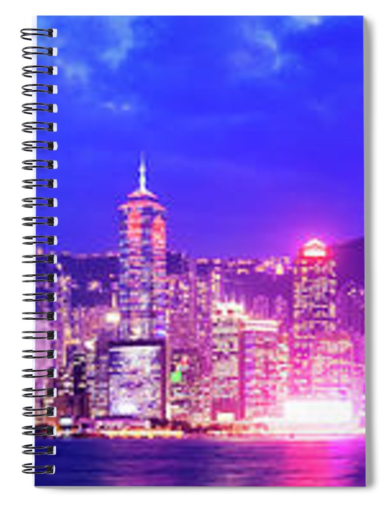 Downtown District Spiral Notebook featuring the photograph Hong Kong City Skyline In China by Deejpilot
