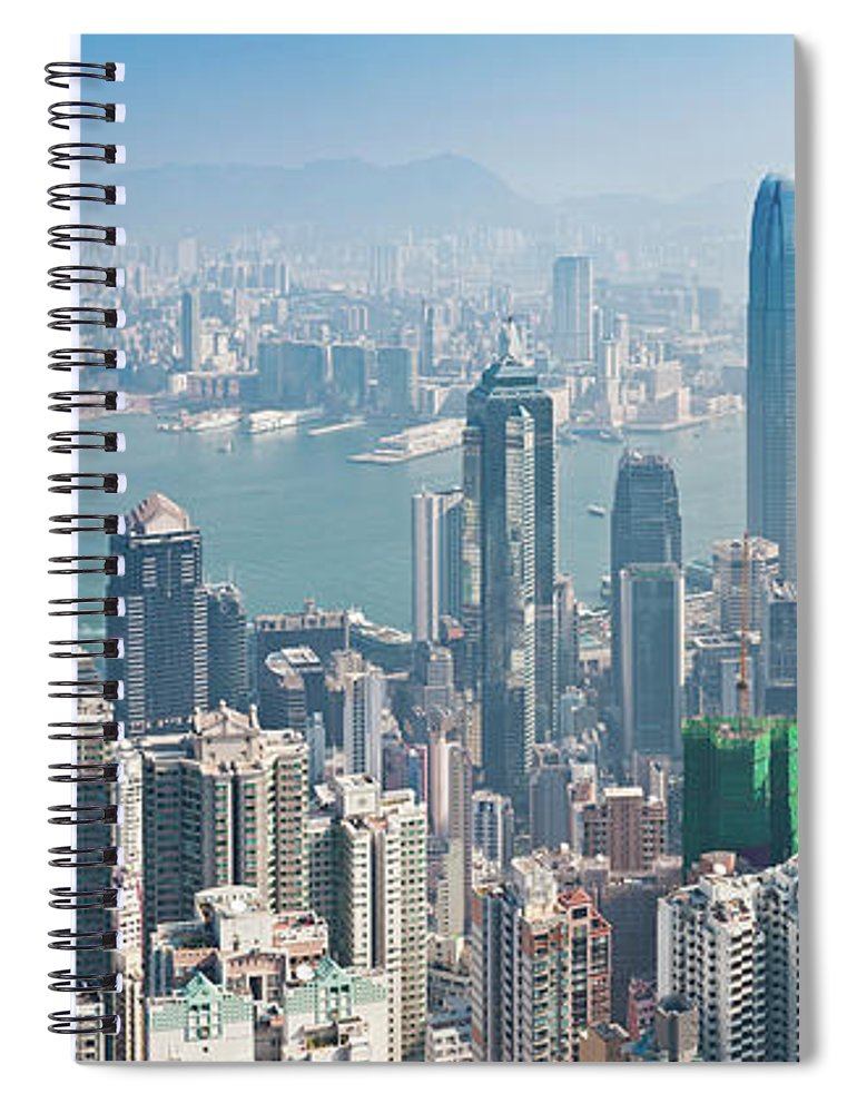 New Territories Spiral Notebook featuring the photograph Hong Kong Iconic Skyscraper City by Fotovoyager