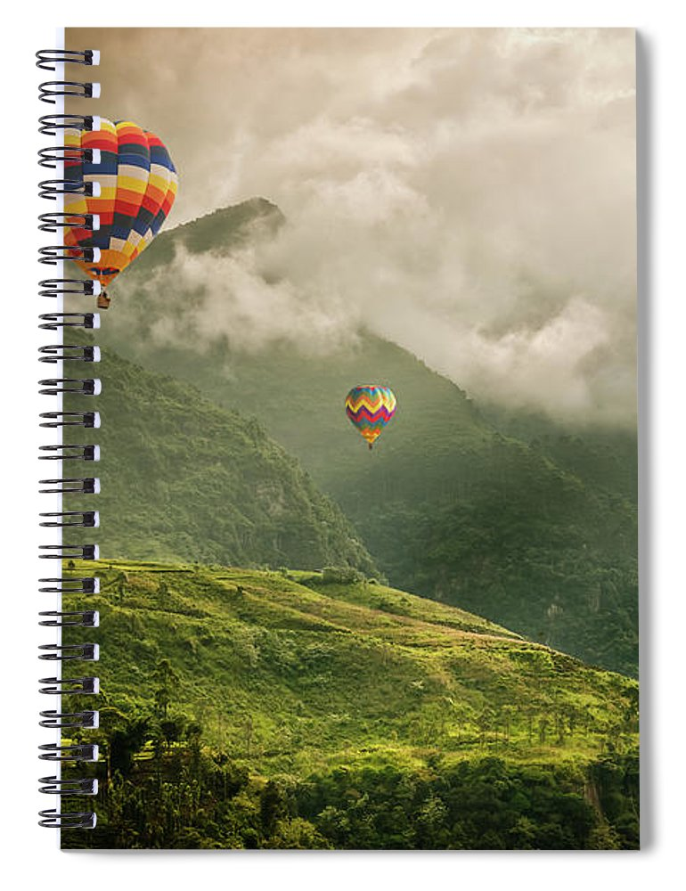 Tranquility Spiral Notebook featuring the photograph Hot Air Balloons Over Tea Plantations by Nicolo Sertorio