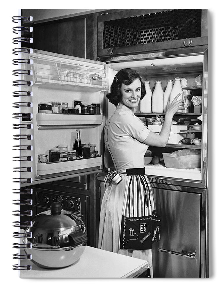 Milk Spiral Notebook featuring the photograph House Wife Removing Milk From by George Marks