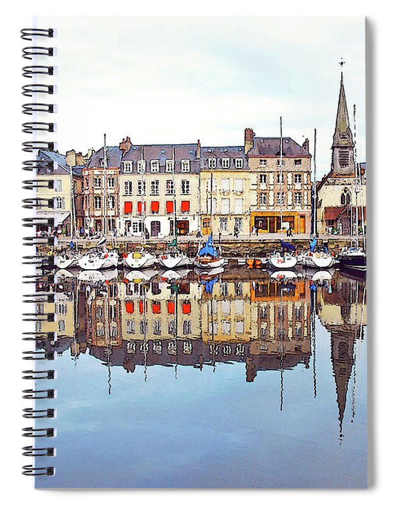 Tranquility Spiral Notebook featuring the photograph Houses Reflection In River, Honfleur by Ana Souza