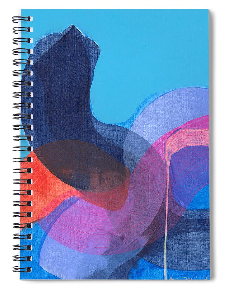 Abstract Spiral Notebook featuring the painting How Did It Get To Be So Late? by Claire Desjardins