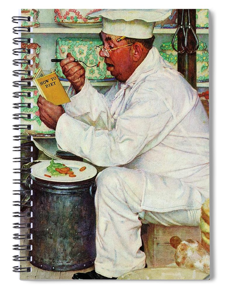 Bakers Spiral Notebook featuring the drawing How To Diet by Norman Rockwell