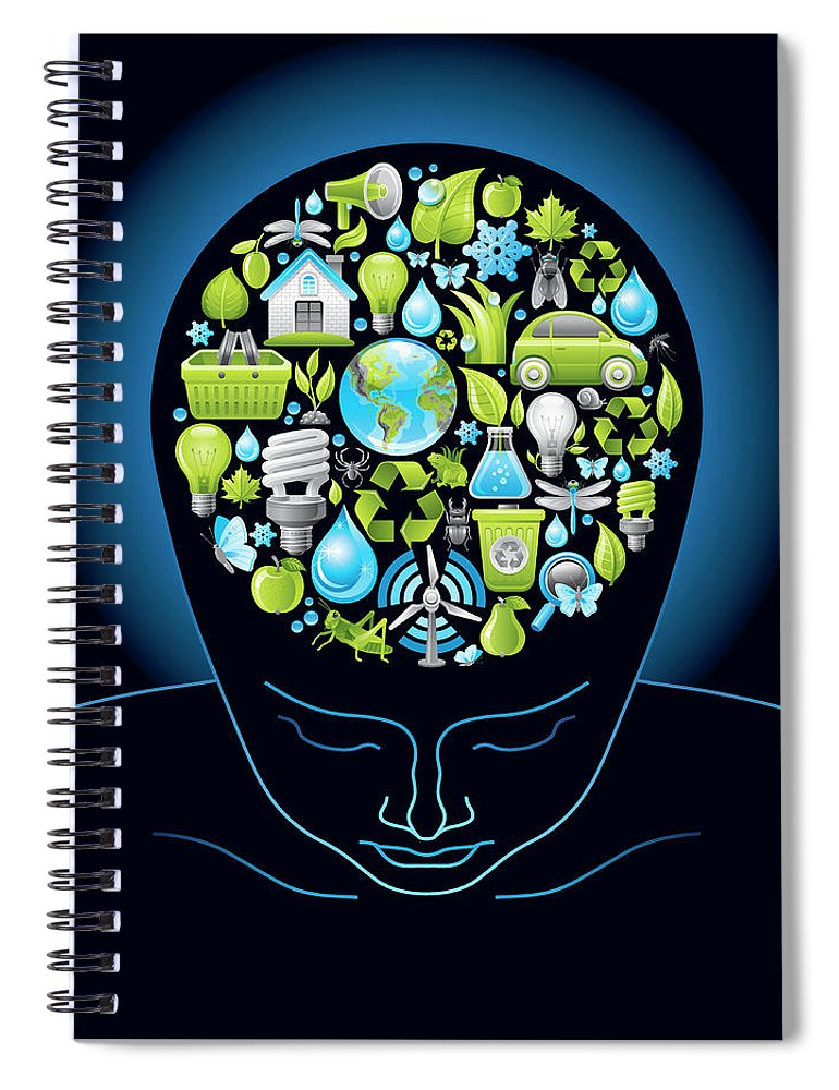 Expertise Spiral Notebook featuring the digital art Human Head With Ecological Symbols In by O-che
