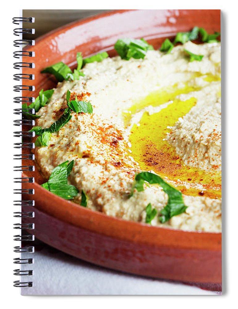 Dish Towel Spiral Notebook featuring the photograph Hummus Mediterranean Style by Silvia Jansen