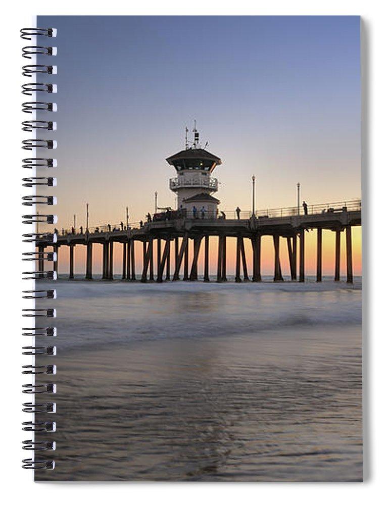 Scenics Spiral Notebook featuring the photograph Huntington Beach Pier, California Xxxl by 4fr