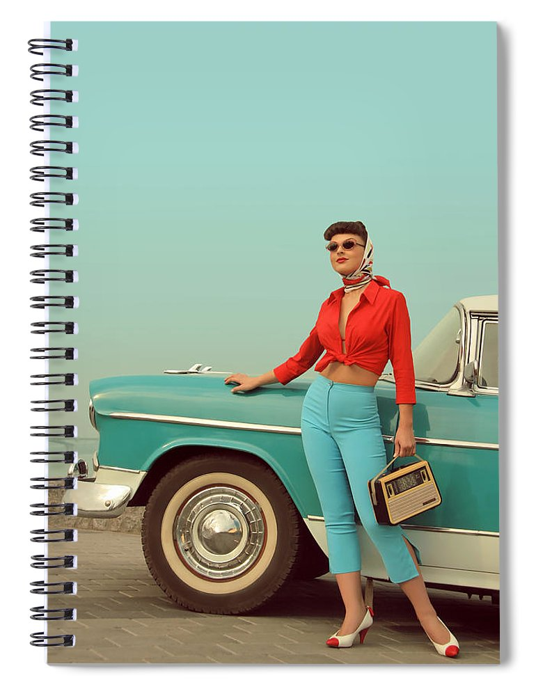 People Spiral Notebook featuring the photograph I Am Back by Retroatelier
