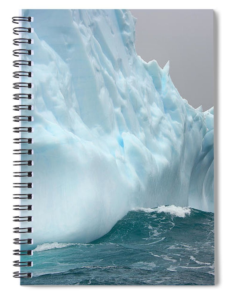 Scenics Spiral Notebook featuring the photograph Iceberg And Sea Waves, South Georgia by Eastcott Momatiuk