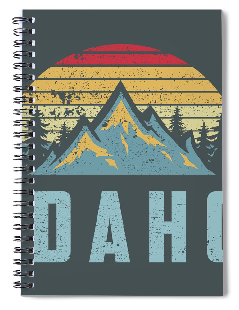 men's Novelty Hoodies Spiral Notebook featuring the digital art Idaho Retro Vintage Mountains Hiking Nature Hoodie by Do David