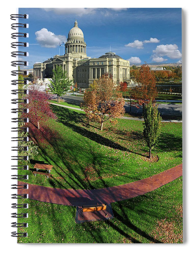 Idaho State Capitol Spiral Notebook featuring the photograph Idaho State Capitol In Autumn by Tom Gautier Photography