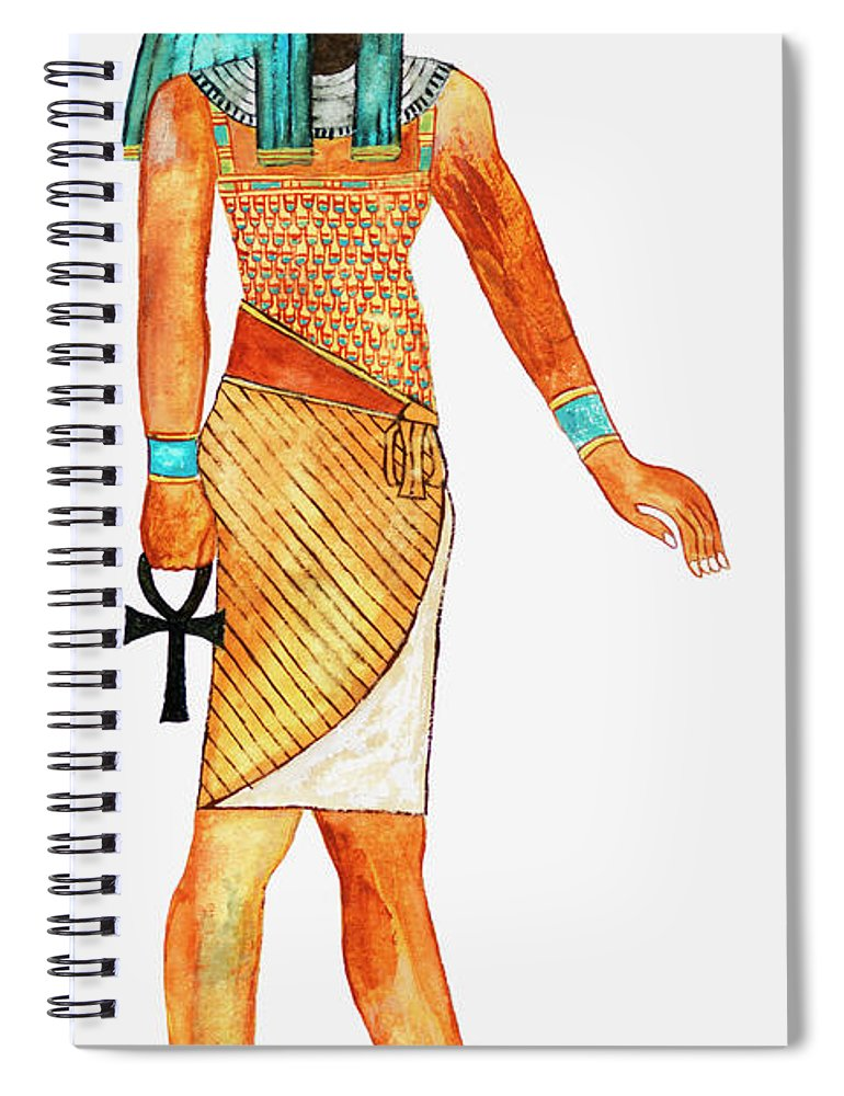 Watercolor Painting Spiral Notebook featuring the digital art Illustration Of Ancient Egyptian God Of by Dorling Kindersley