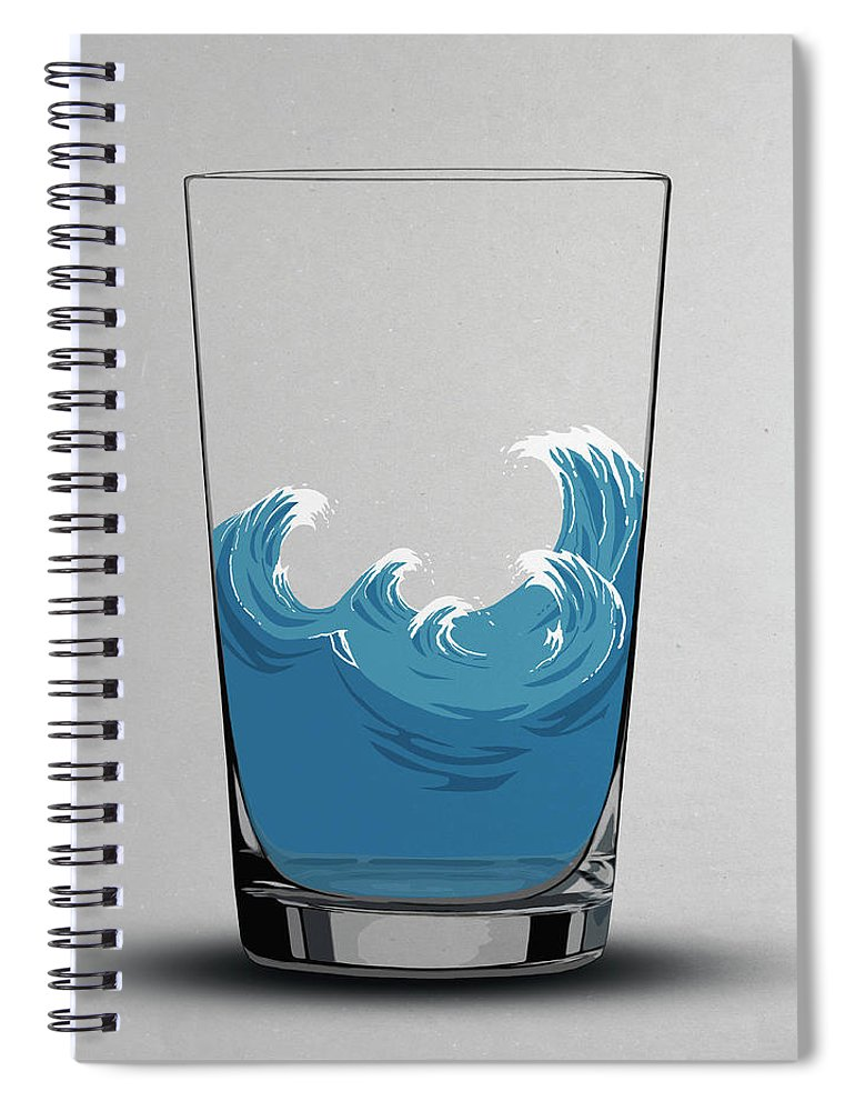 Concepts & Topics Spiral Notebook featuring the digital art Illustration Of Choppy Waves In A Water by Malte Mueller