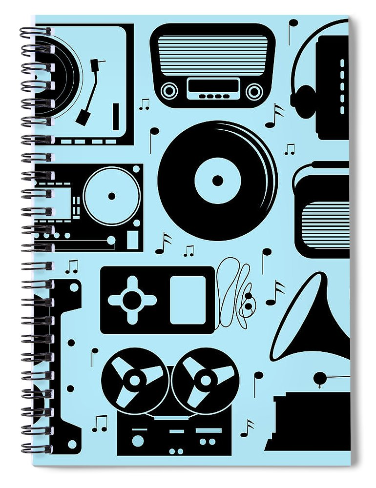 Music Spiral Notebook featuring the digital art Illustration Of Different Musical by Olillia