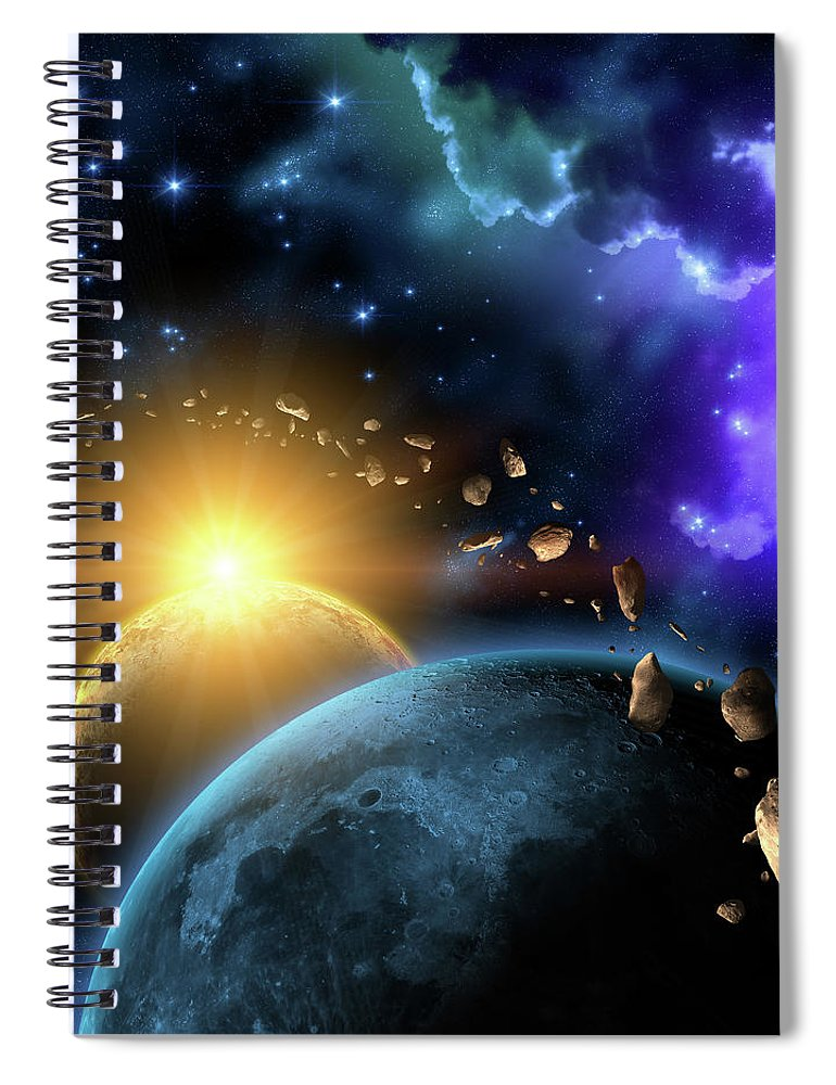 Scenics Spiral Notebook featuring the digital art Illustration Of The Earth, Moon, Sun by Kalistratova
