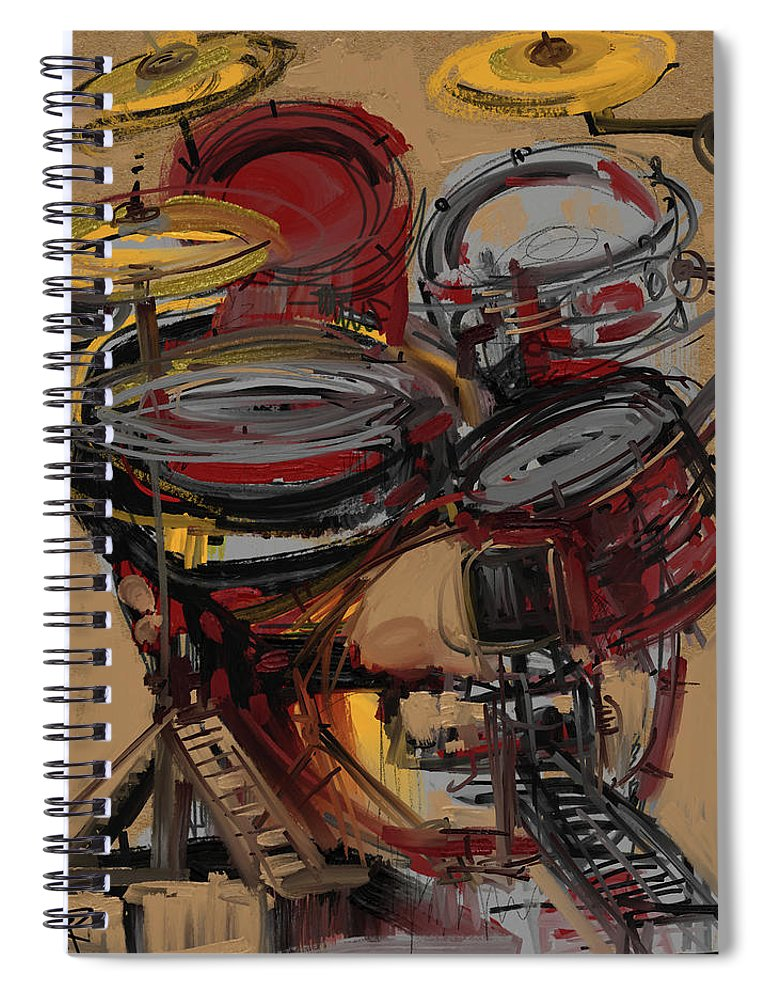 Drums Spiral Notebook featuring the mixed media Impressionistic Drums by Russell Pierce