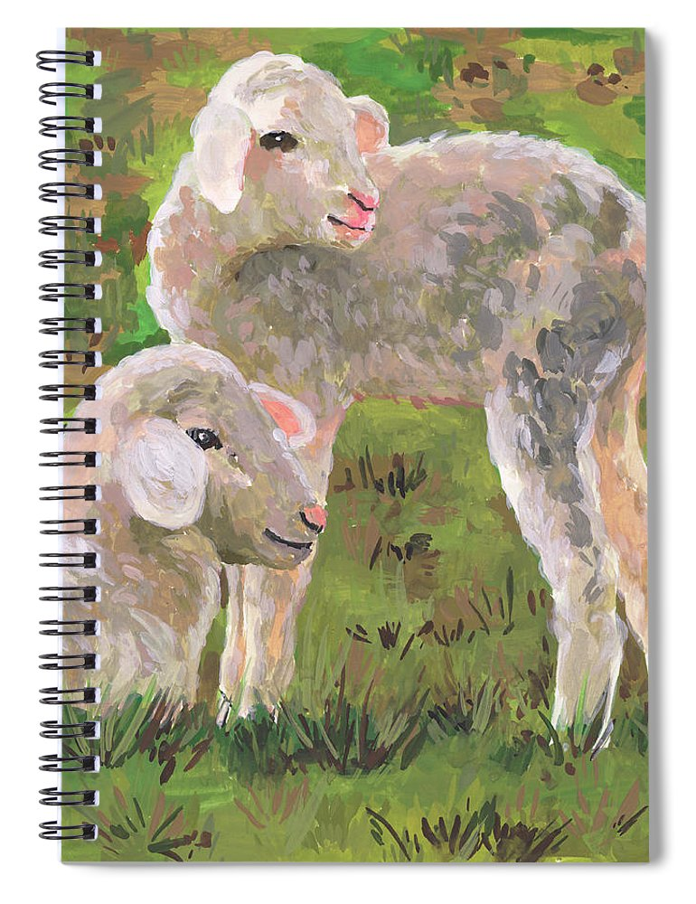 Animals & Nature+farm+cows & Sheep Spiral Notebook featuring the painting In The Meadow I by Melissa Wang