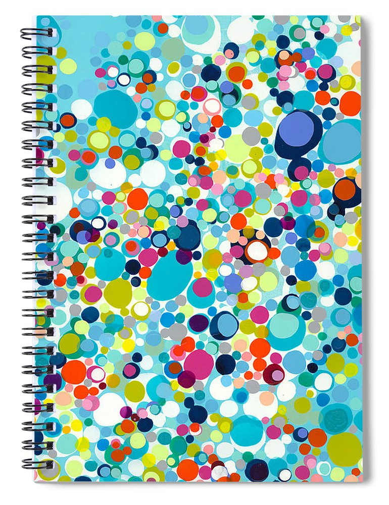 Abstract Spiral Notebook featuring the painting In The Meantime by Claire Desjardins