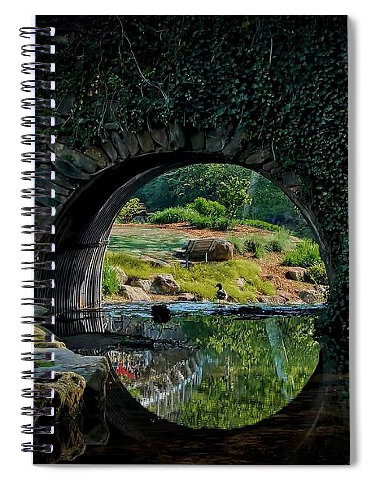 Bridge Spiral Notebook featuring the photograph In the Middle of A Reflection by Zayne Diamond Photographic