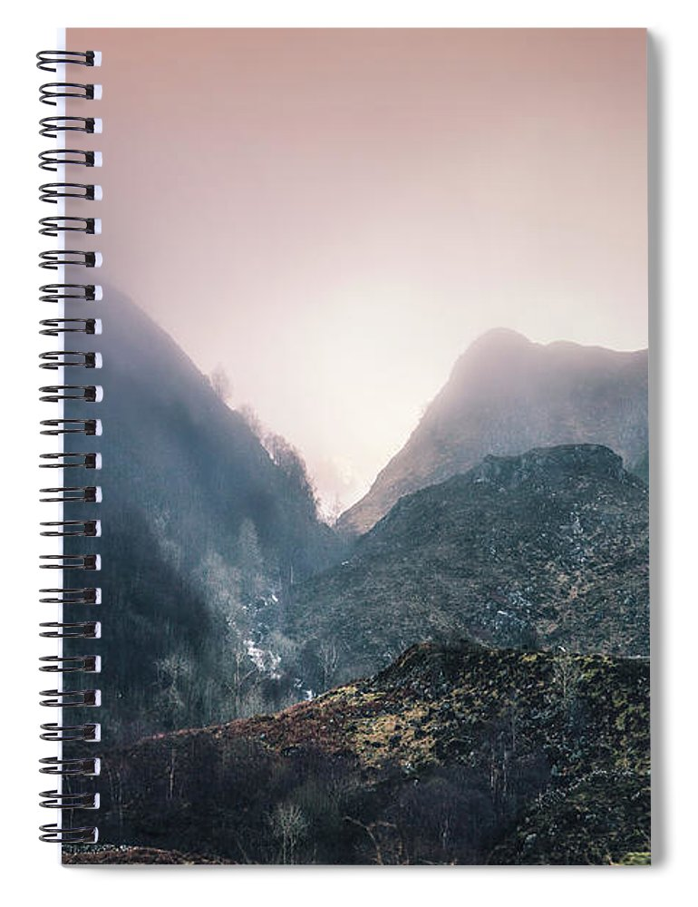 Kremsdorf Spiral Notebook featuring the photograph In The Mist Of The Hills by Evelina Kremsdorf