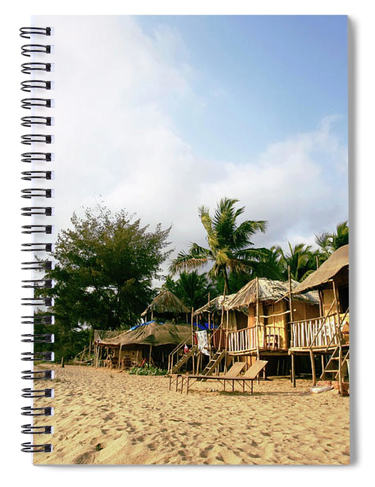 Scenics Spiral Notebook featuring the photograph India, Goa, Beach Huts On Agonda Beach by Sydney James